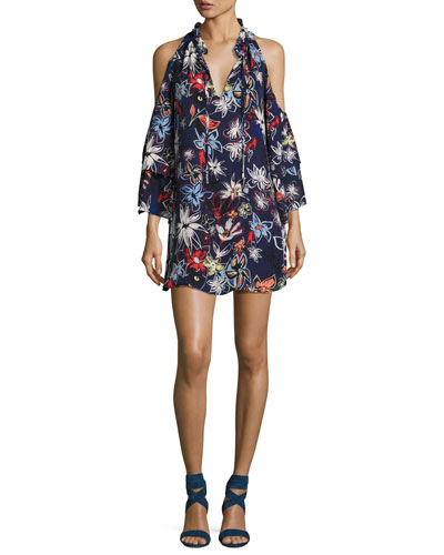 Anastasia Cold-Shoulder Shift Dress, Floral Print