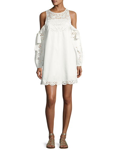 Newton Lace-Trim Cotton Dress, White