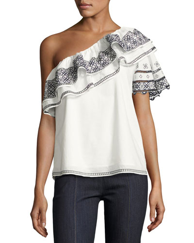 Mary Embroidered One-Shoulder Blouse, White