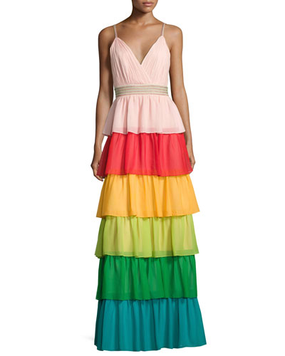 Luba Sleeveless Tiered Chiffon Gown, Multicolor