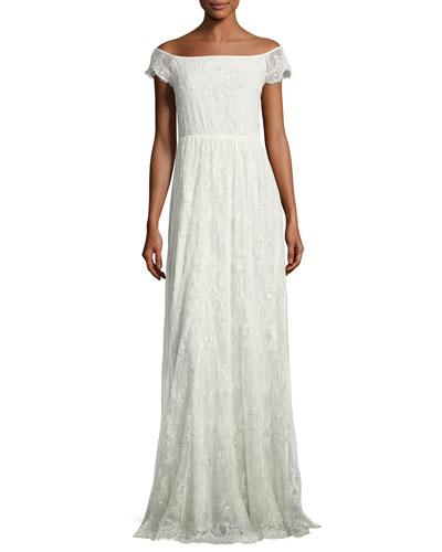 Aurelia Off-the-Shoulder Floral Gown, White