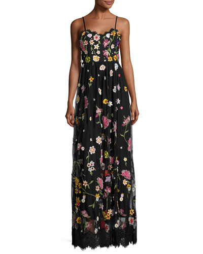 Lindy Sleeveless Embroidered Column Gown, Black