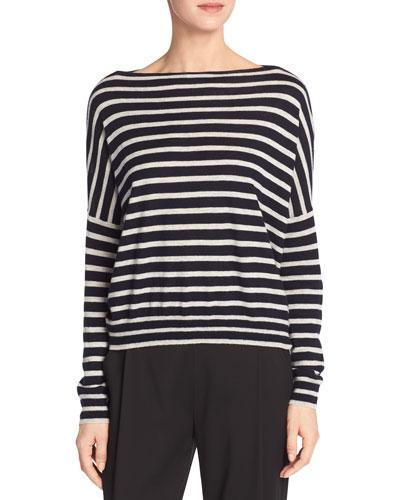 Skinny-Stripe Boat-Neck Merino Wool Sweater