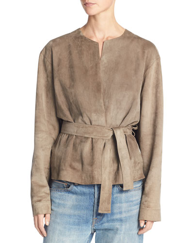 Lamb Suede Belted Jacket, Brown