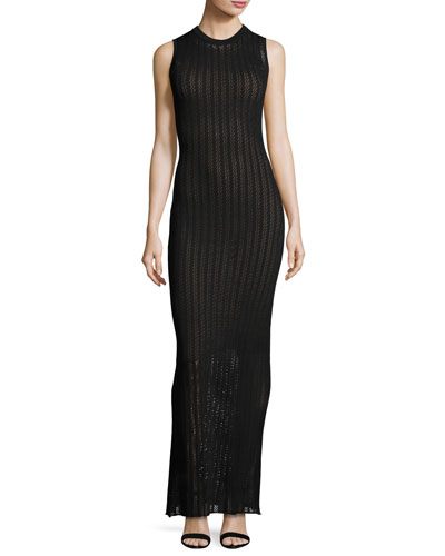 Daphne Sleeveless Striped Crochet Maxi Dress, Black