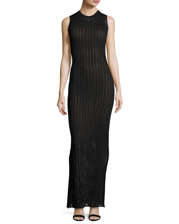 Daphne Sleeveless Striped Crochet Maxi Dress, Black