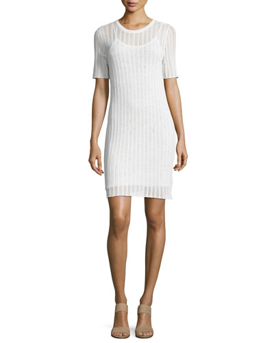 Caspar Short-Sleeve Striped Crochet Dress, White