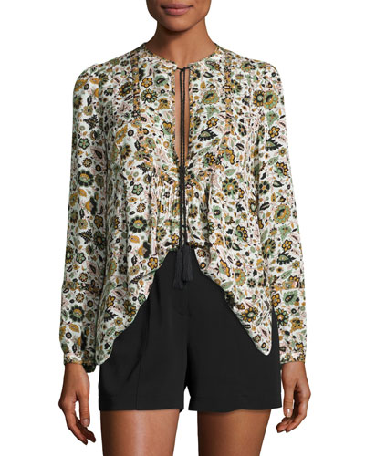 Hari Long-Sleeve Floral Silk Top, White/Multicolor