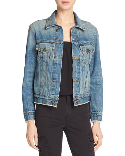 Cropped Denim Jacket, Mid Blue Wash