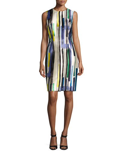 Sleeveless Striped Twill Cocktail Dress, Multicolor