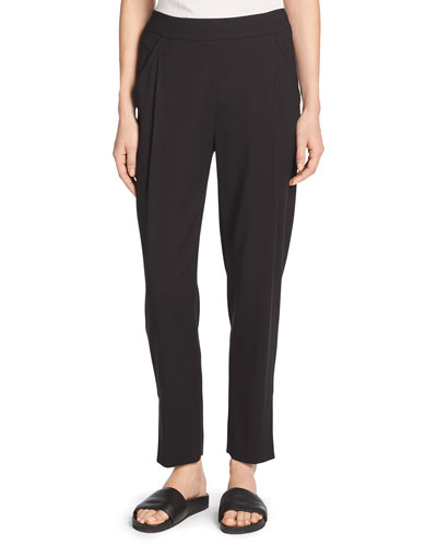 Single-Pleat Pull-On Track Pants, Black