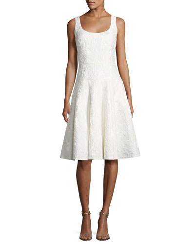 Sleeveless Floral Jacquard Fit-and-Flare Cocktail Dress, Ivory