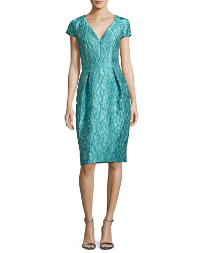Cap-Sleeve Jacquard Cocktail Dress, Jade