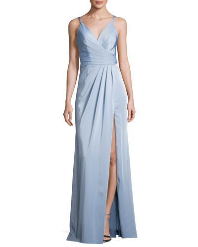 Sleeveless Ruched Stretch Faille Gown, Blue