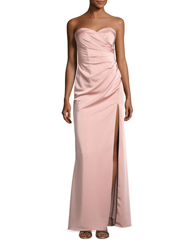Strapless Stretch-Satin Sweetheart Column Gown, Pink