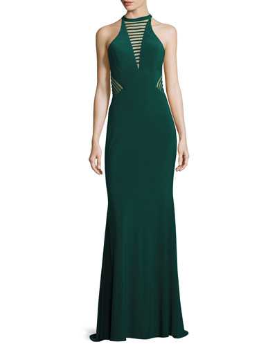 Sleeveless Striped Illusion Stretch Jersey Gown, Hunter
