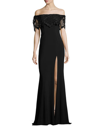 Off-the-Shoulder Stretch Crepe Gown, Black
