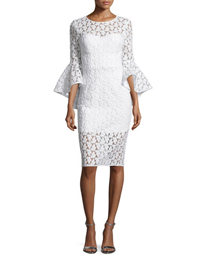 Anya Bell-Sleeve Embroidered Sheath Dress, White