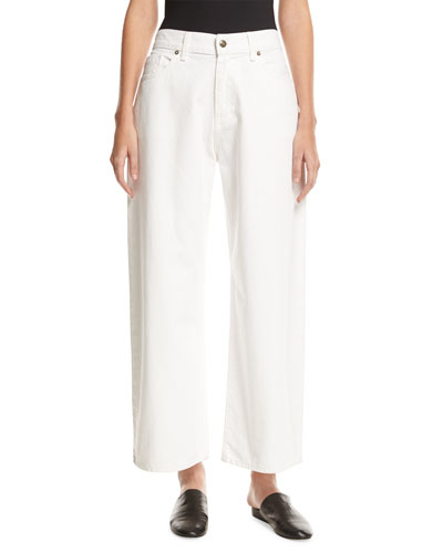 Wide-Leg Low-Waist Jeans, White