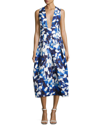 Elisa Pleated Floral Faille Midi Dress, Blue