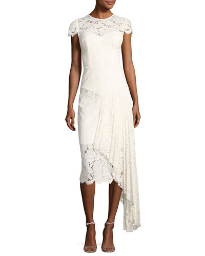 Margaret Cap-Sleeve Floral Lace Cocktail Dress, White