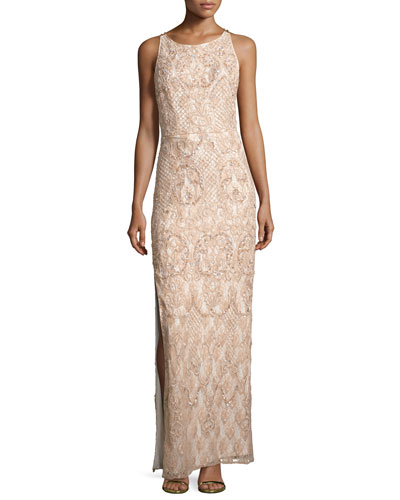 Sleeveless Beaded Lace Column Gown, Blush