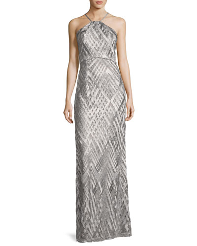 Sleeveless Geometric Jacquard Column Gown, Silver