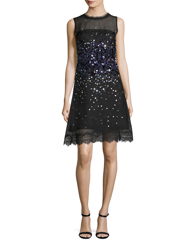 Fatimah Sleeveless Silk Ombre Sequin Cocktail Dress, Black