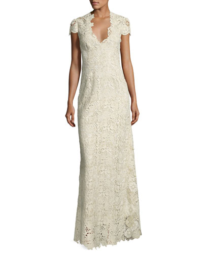 Cap-Sleeve Metallic Lace Column Gown, White/Gold