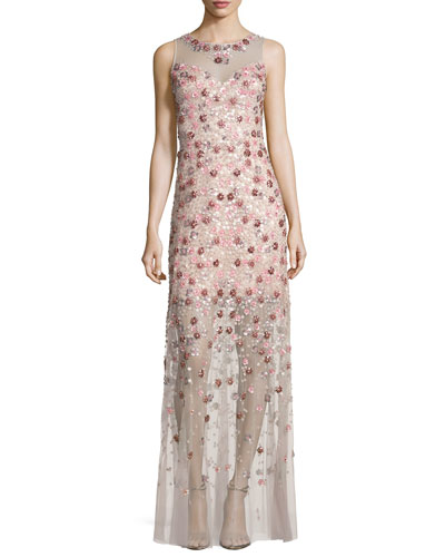 Sleeveless Embellished Floral Georgette Column Gown, Pink