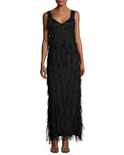 Sleeveless Beaded Feather Column Gown, Black