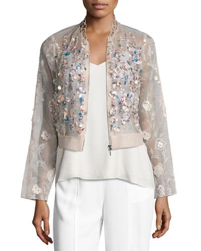 Embroidered Silk Organza Jacket, Pink