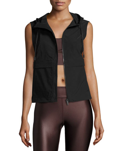 Cropped Anorak Hooded Vest W/Mesh Back, Black