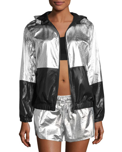 Fuel Metallic Woven Hooded Performance Jacket, Silver