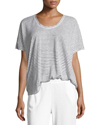 Short-Sleeve Striped Linen Tee, White/Black