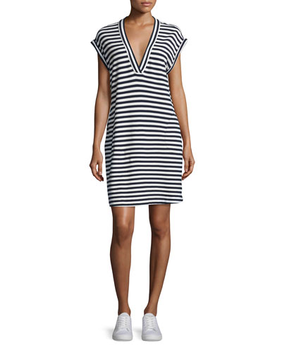 Striped Pima Jersey Dress, Navy/White