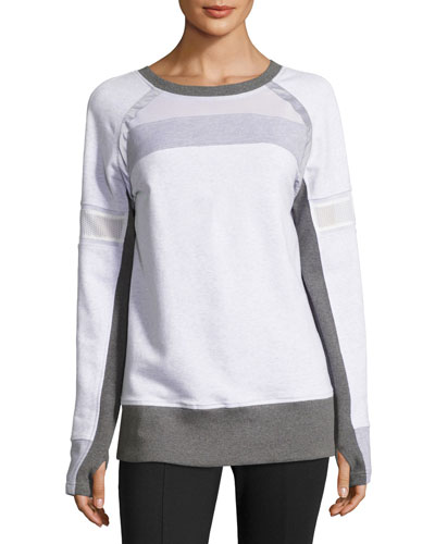 Long-Sleeve Mesh Mix Pullover, White/Gray