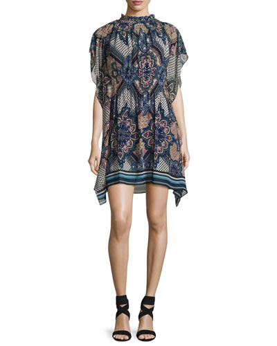 Laurette Printed High-Neck Minidress, Multicolor
