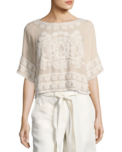 Arya Silk Tie-Back Top with Textured Embroidery, Beige
