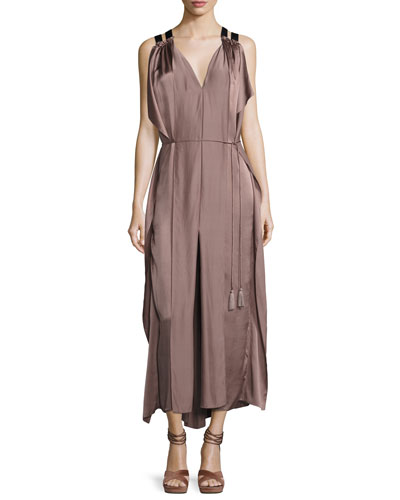 Laila Sleeveless Silk Charmeuse Maxi Dress, Mocha