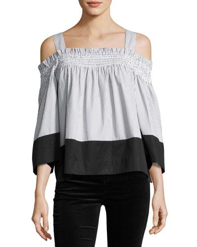 Off-the-Shoulder Smocked Top, Black/White Stripe