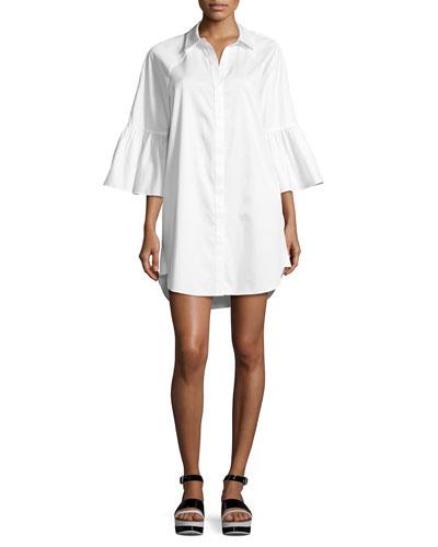 Bell Sleeve Cotton Shirt Dress, White