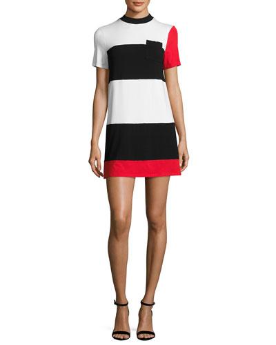 Geo Striped T-Shirt Dress, White/Black/Red