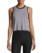 Crescent Sleeveless Crop Top, Gray