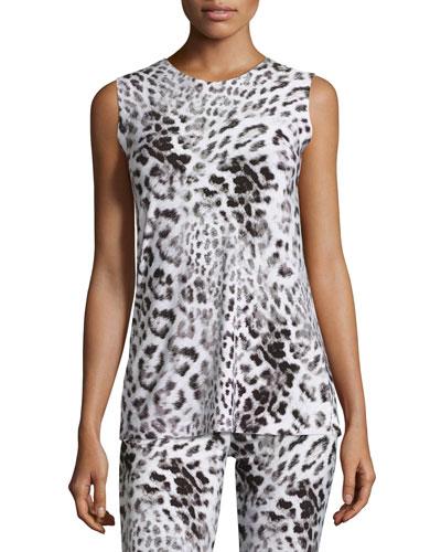 Sleeveless Swing Top, White Leopard