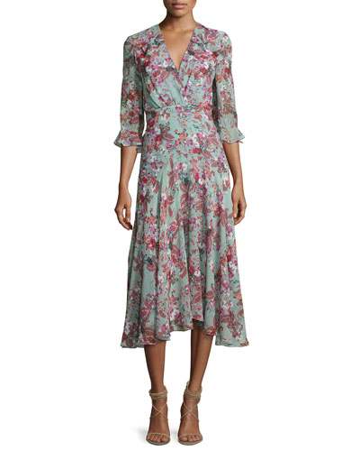 Edith V-Neck Silk Dress, Multipattern