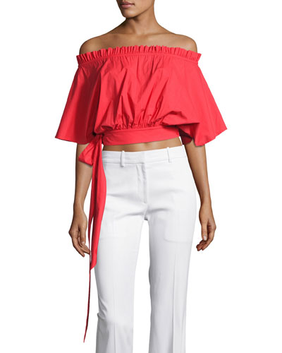 Drew Off-the-Shoulder Crop Top, Red