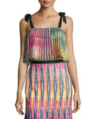 Jemi Pleated Crop Top, Multicolor