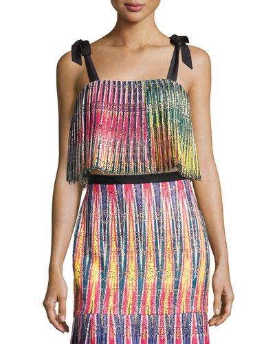 Jemi Pleated Crop Top, Multicolor