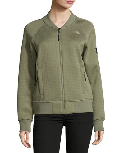 Kelana Embossed Fleece Bomber Jacket, Deep Lichen Green